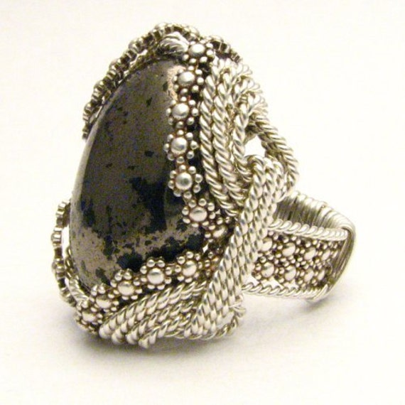 Handmade Sterling Silver Berry Wire Wrap Pyrite Cab Ring