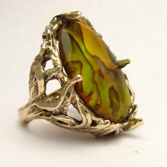 Handmade 14kt Gold Gold Paua Shell Massive Claw Ring