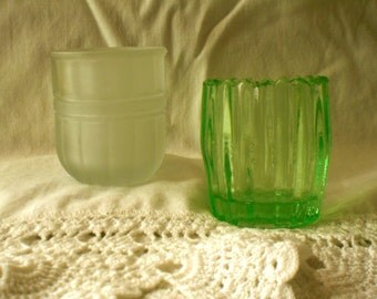 Pair of Pretty Glass Toothpick Holders