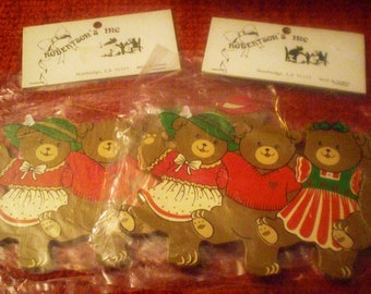 Four Dancing Bears Set of  Two Trim Ornament