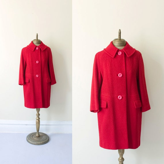 cherry 1960s vintage bright red short pea coat sz M-L