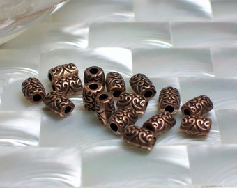 Antiqued Copper tone 8 by 6mm Decorative Tube Beads 16pcs