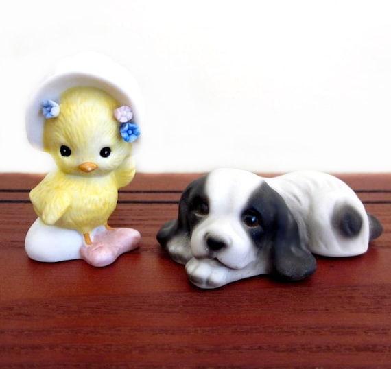 Porcelain Animal Figurines, Dog / Chick