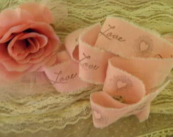 Love  and Hearts Hand Stamped  Ribbon  - Vintage Pink Muslin