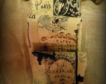 Old World French Trim  - Bonjour - Eau de Cologne France  -  Chocolat - Old Time Bicycle - Paris Script -
