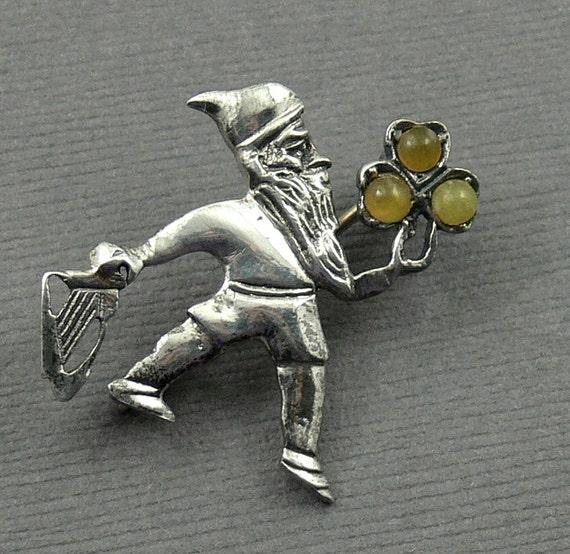 Vintage Sterling Silver Leprechaun Pin