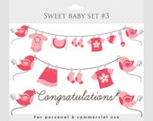 Baby girl clipart, baby shower clip art, pink, pregnancy clip art, nursery clipart, sweet, birds, baby clothes, clothesline