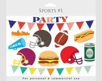 Football party clipart - football clip art, foot ball, football clipart, bunting banner, helmets, hot dog, hamburger, nachos, beer, snacks