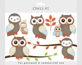 Owls clipart - whimsical owls, baby owls, birdies, branch, tree branch, leaves, sweet, cute, birds, for personal and commercial use