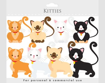 Cat clipart - kittens, kitties, kittycats, white, brown, siamese, black, whimsical, animal clipart, cute, for personal and commercial use