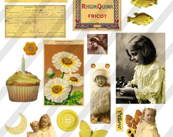 Digital Collage Sheet  Yellow  Images (Sheet no. O4) Instant Download