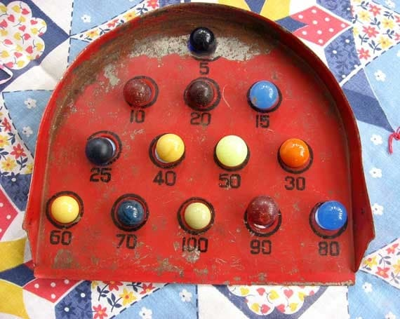 Antique 1920 Vintage Tin Toy Marble Game In Old Red Paint