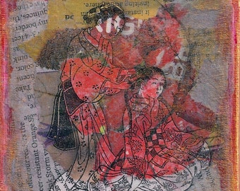 ZNE Mixed Media Collage - Art by ruby -Oriental Beauty Fun - 4x4 Canvas Panel