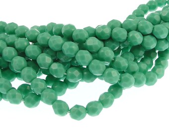 50 TURQUOISE OPAQUE 6mm Faceted Firepolish Czech Glass Beads Blue Green Beads 6mm Beads Faceted Fire Polished