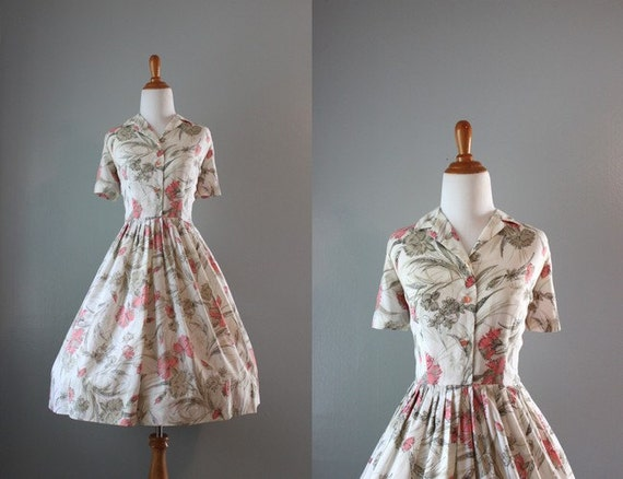Vintage Wedding Dresses 50s 60s: 1950s Dress / Vintage 50s 60s Day Dress / Full By HolliePoint