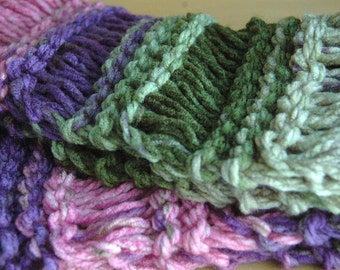 Chunky Hand Knit Scarf, Knitted Scarf, Knit Scarf, Fringe Scarf, Womens Scarf, Drop Stitch in Shades of Purple Green Pink Original Design
