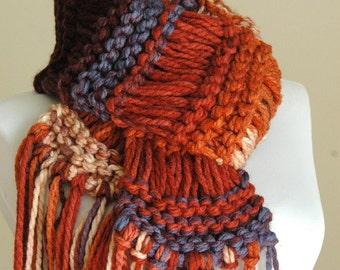 Sunset Colors Knit Scarf, Knitted Fringe Scarf, Chunky Knit Scarf, Women Scarf, Vegan Scarf, Drop Stitch Knitting, Burnt Orange, Blue, Tan