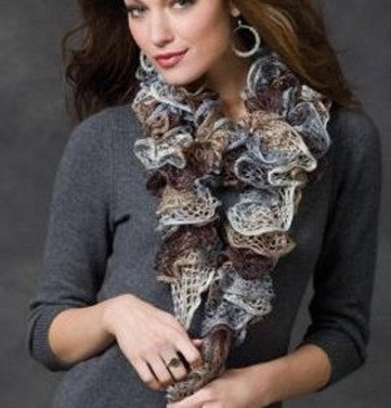 Knit Ruffle Scarf In Shades of Gray Brown Taupe Silver