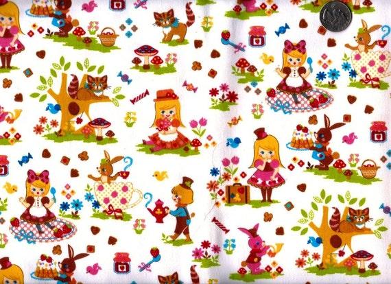 Half Yard Japanese Canvas Cotton Fabric Cosmo Textile Alice Wonderland White