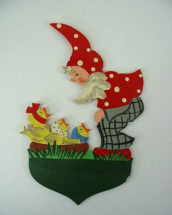 Vintage German Wood  Elf Pixie Garden Nome Plaque
