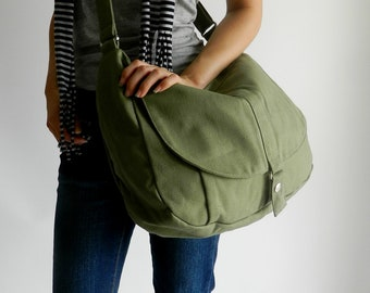 SALE  30% - Smoke Green Messenger bag,Women diaper bag, Travel shoulder bag ,Canvas cross body handbag, Gift for her /  no.12 KYLIE