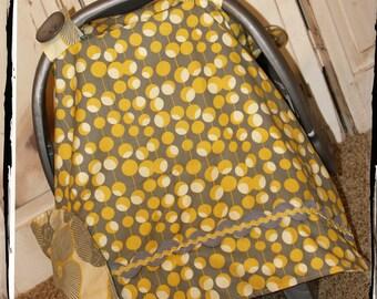 Sale! 20% OFF!! Car Seat Canopy-Mustard Martini Dot 2 Carseat Canopy