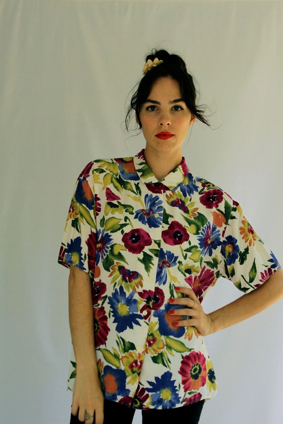1990s ESPRIT Floral Button Up Blouse Size S