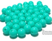 8mm Smooth Round Acrylic Beads in Tiffany Mint green 50 beads