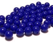 BULK QUANTITIES 8mm Smooth Round Acrylic Beads in Cobalt Blue 200 beads