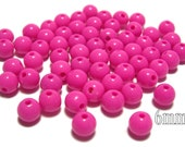 6mm Smooth Round Acrylic Beads in Hot Pink 100pcs