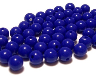 8mm Smooth Round Acrylic Beads in Cobalt Blue 50 beads