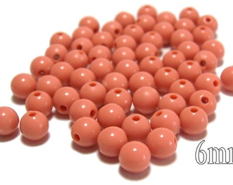 6mm Smooth Round Acrylic Beads in Dark Salmon 100pcs