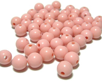 8mm Smooth Round Acrylic Beads in Peach 50 pcs