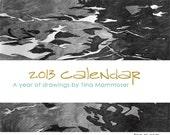 2013 art calendar - drawings postcard calendar set