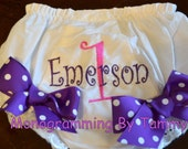 Personalized Embroidered Ribbon Bow Monogrammed Diaper Cover Panty Cover Fancy Pants Bloomers