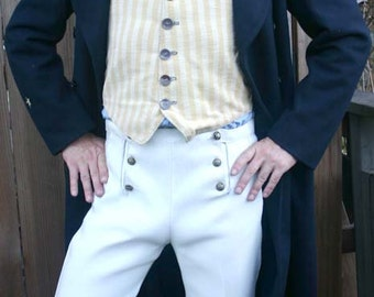 White Button Flap Front  Steampunk Tapestry Pants