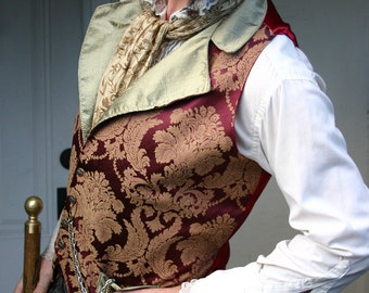 Red and Bronze Floral Tapestry and Silk Steampunk Victorian Lapeled Gentlemen's Vest, Shirt, Trousers and Ascot