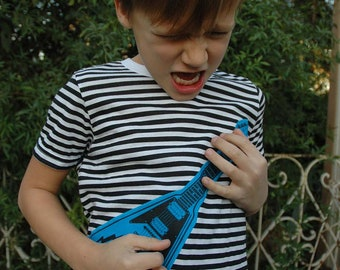 Black and White Stripe Shirt with Screenprinted and Appliqued Turquoise Flying V Guitar child size 8