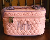 Monogrammed Pink and  Lavender   Quilted Cosmetic Bag  Free Personalization