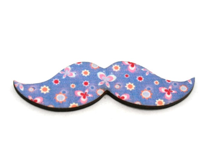 Moustache Brooch, Blue Butterfly Pin, Movember Facial Hair Accessory, Animal Brooch, Father's Day Gift