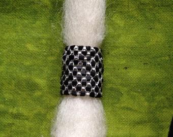 Black cubed and white seed beaded dreadlock bead for medium sized dreadlocks