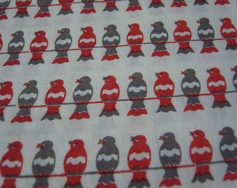 Red & Grey Birds On a Wire - hand printed cotton fabric - Half yard
