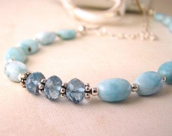Blue Topaz Larimar december birthstone necklace