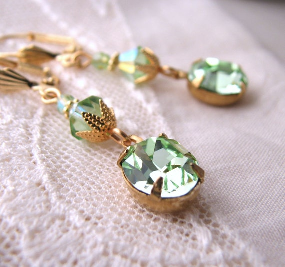 Mint green earrings with  Swarovski peridot and chrysolite crystal