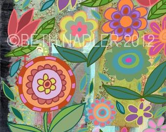 Garden Flurry Collage--Wall Art Print