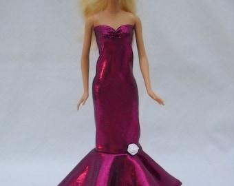 Barbie Doll Dress Handmade Shimmery Fushia  Sweetheart Sheath Dress