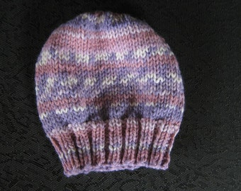 hand knit baby hat -  size 6 - 12  months fair isle and stripe