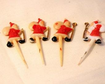 Cupcake Toppers Santa Claus Cupcake Spikes Old Saint Nick Cupcake Decorations Red White Black Vintage