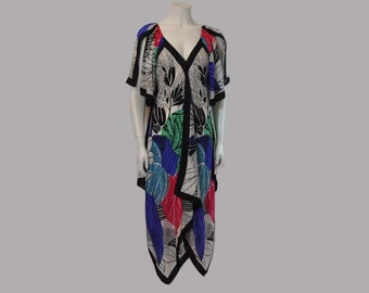 1970s dress / Wearable Art Vintage 70's Boho Silk Scarf Dress Dress