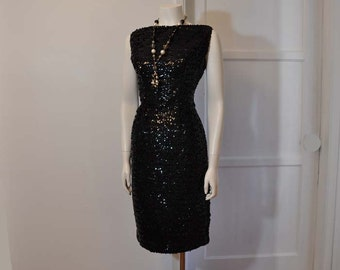 1950s dress / Lounge Singer Vintage 50's Sequin Dress